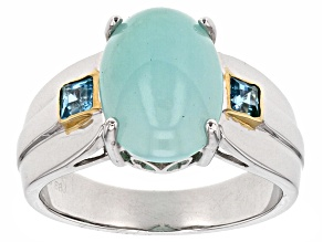 Blue Peruvian Opal Sterling Silver and 18K Gold Over Silver Gents Ring .28ctw