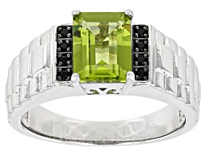 Green Arizona Peridot Sterling Silver Men's Ring 1.81ctw