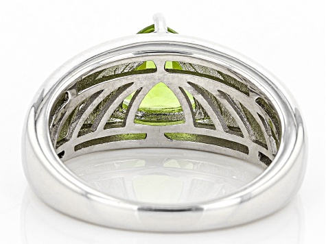 Green peridot sterling silver gents ring 2.61ctw