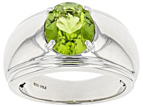 Green peridot sterling silver ring 2.87ct