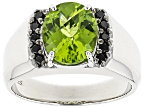Green Peridot Rhodium Over Silver Mens Ring 3.11ctw