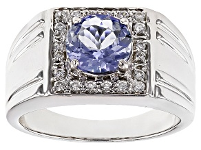 Blue Tanzanite Silver Gents Ring 1.73ctw