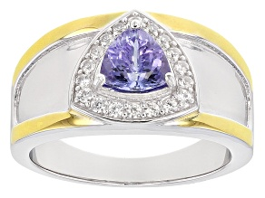 Blue Tanzanite Silver And 18k Gold Over Silver Gents Ring 1.34ctw