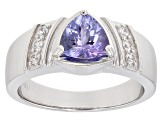 Blue Tanzanite Sterling Silver Gent's Ring 1.78ctw
