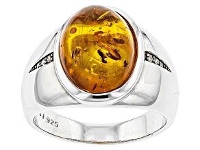 Orange Amber Sterling Silver Gents Ring .03ctw