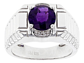 Purple African Amethyst Rhodium Over Sterling Silver Men's Ring 2.68ctw