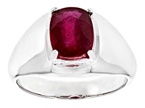 Mahaleo Ruby Sterling Silver Gent's Ring 3.10ct