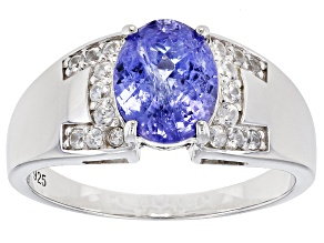 Blue Tanzanite Sterling Silver Gent's Ring 3.27ctw