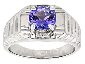 Blue Tanzanite Sterling Silver Gent's Ring 1.77ctw