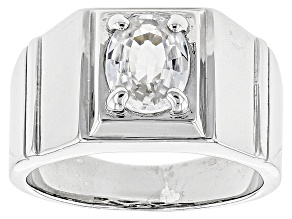 White Zircon Sterling Silver Men's Ring 2.00ct
