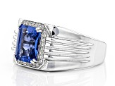 Blue Color Change Fluorite Sterling Silver Gents Ring 3.57ctw