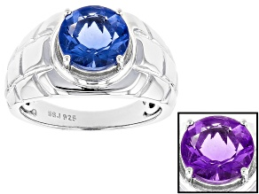 Blue Color Change Fluorite Rhodium Over Sterling Silver Gents Ring 4.50ct