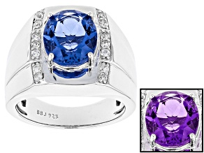 Blue Color Change Fluorite Rhodium Over Sterling Silver Mens Ring 5.33ctw