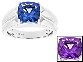 Blue Color Change Fluorite Sterling Silver Gents Ring 4.12ct