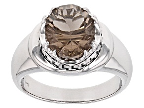 Brown Smoky Quartz Sterling Silver Gents Ring 3.30ct
