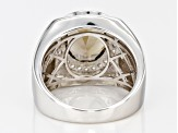 Brown Smoky Quartz Rhodium Over Sterling Silver Mens Ring 3.49ctw