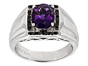 Purple Amethyst Sterling Silver Gents Ring 2.05ctw