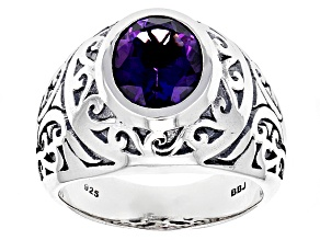 Purple Amethyst Sterling Silver Mens Ring 2.80ct