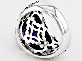 Purple Amethyst Sterling Silver Gents Ring 2.80ct