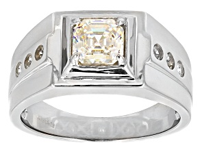White Fabulite Strontium Titanate And White Zircon Sterling Silver Gents Ring 1.85ctw