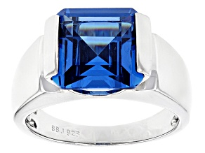 Blue Lab Created Spinel Rhodium Over Sterling Silver Mens Ring 9.70ct