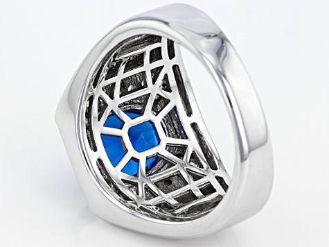 Blue Lab Created Spinel Rhodium Over Sterling Silver Mens Ring 5.10ctw