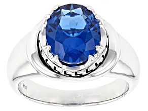 Blue Lab Created Spinel Rhodium Over Sterling Silver Gent's Ring 4.06ct