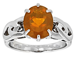 Orange Oregon Fire Opal Sterling Silver Gents Ring 2.92ct
