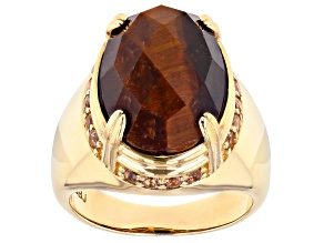 Brown Tigers Eye 18k Gold Over Silver Ring 10.30ctw