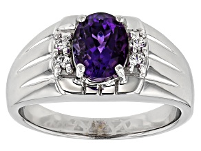 Purple amethyst rhodium over sterling silver gents ring 1.56ctw
