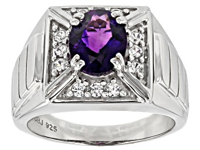 Purple Moroccan amethyst rhodium over silver men's ring 2.44ctw