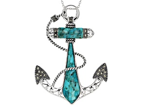 Blue Turquoise Rhodium Over Sterling Silver Anchor Side With Chain