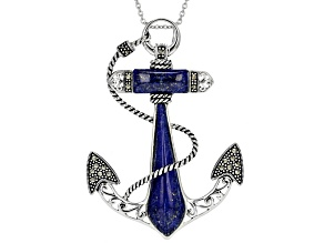 Blue Lapis Lazuli Rhodium Over Sterling Silver Anchor Slide With Chain