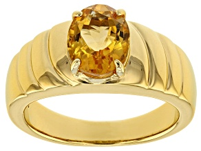 Yellow Citrine 18k yellow gold over sterling silver gent's ring 2.00ct