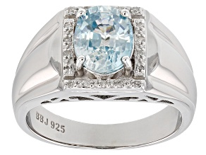 Blue Zircon sterling silver mens ring 3.08ctw