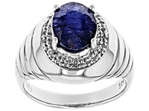 Blue Mahaleo(R) Sapphire Rhodium Over Silver Mens Ring 3.67ctw