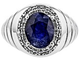 Blue Mahaleo(R) Sapphire rhodium over silver gents ring 3.67ctw