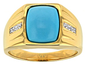 Blue Sleeping Beauty Turquoise 18k gold over silver gent's ring