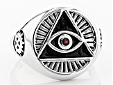 Red spinel sterling silver mens