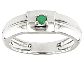 Green Emerald Rhodium Over Sterling Silver Mens Band Ring  .07ct