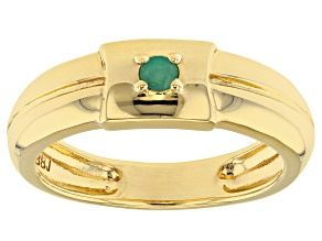 Green emerald 18k gold over sterling silver gent's  band ring .07ct