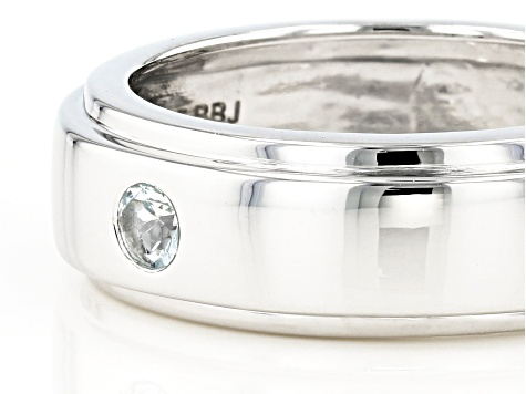 Blue aquamarine rhodium over sterling silver Mens band ring .12ct