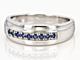 Blue sapphire rhodium over sterling silver men's band ring .23ctw