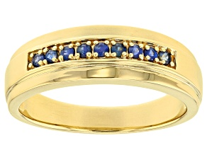 Blue sapphire 18k yellow gold over sterling silver men's band ring .23ctw