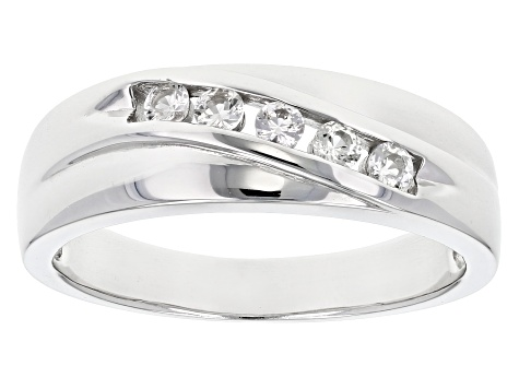 White sapphire rhodium over sterling silver gent's band ring .32ctw