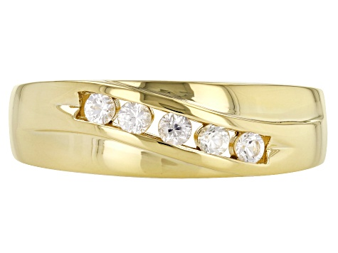 White sapphire, 18k yellow gold over sterling silver gent's band ring. .32ctw
