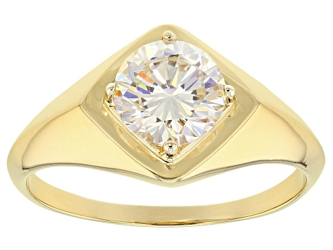 White Fabulite Strontium Titanate 18k Gold Over Silver Men's Ring 2.60ct