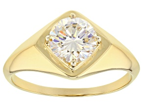 White Fabulite Strontium Titanate 18k Gold Over Silver Men's Ring 2.60ct