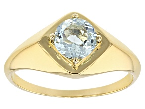 Blue Aquamarine 18k Yellow Gold Over Silver Mens Ring .85ct