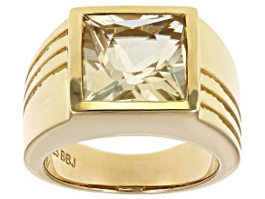 Yellow labradorite 18k yellow gold over silver gent's ring 6.58ct